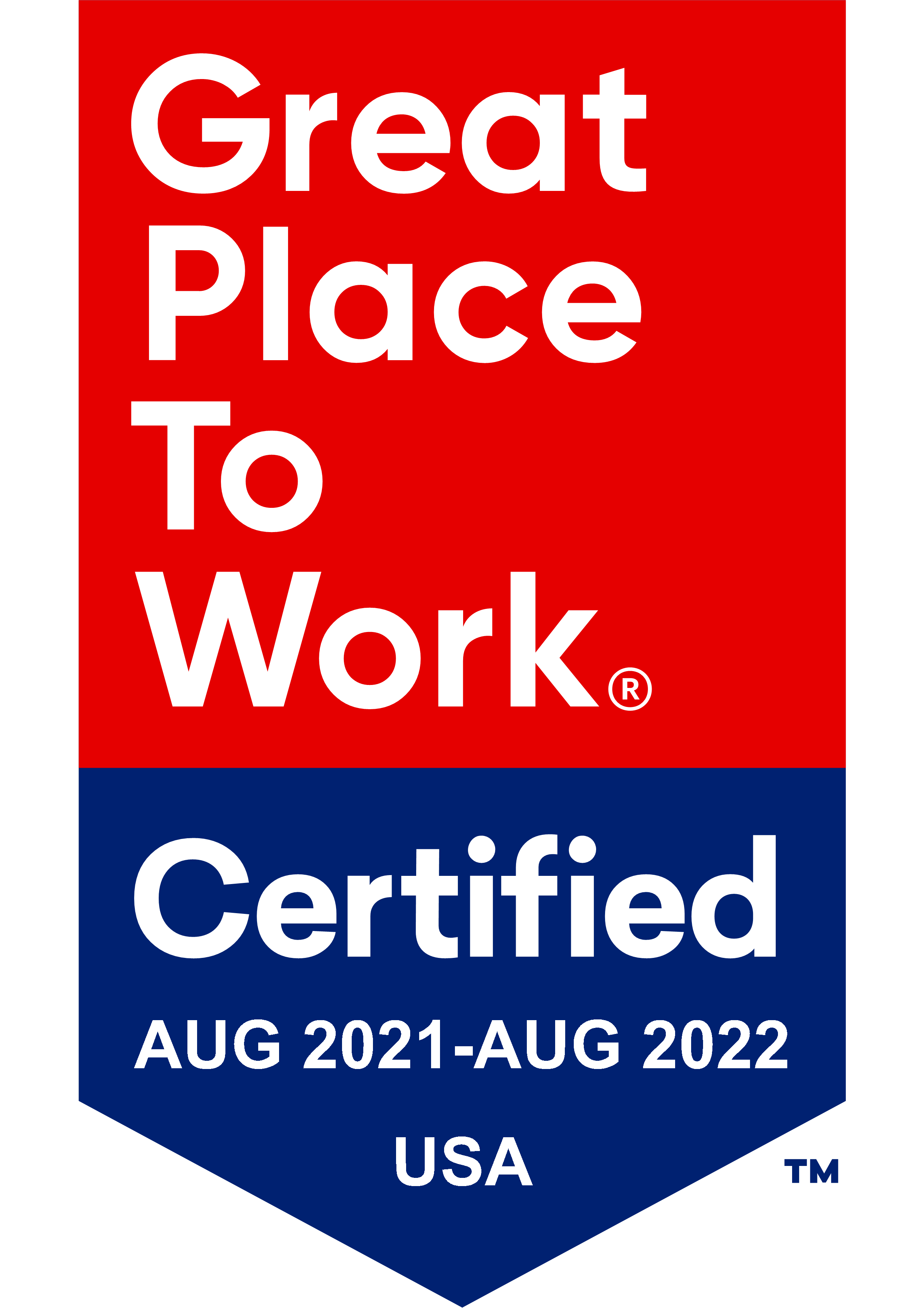 Great place to work certified Aug 2021 - Aug 2022